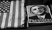 Barack Obama Posters - COMMERCIALIZATION OF THE PRESIDENT OF THE UNITED STATES OF AMERICA in BLACK AND WHITE Poster by Rob Hans