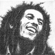 Performer Drawings Prints - Commission - Bob Marley Print by Conor OBrien