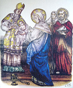 Religious Drawings Metal Prints - Commission - The Presentation of Baby Jesus to the Temple Metal Print by Conor OBrien