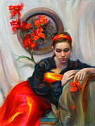 Clothed Posters - Common Threads - Divine Feminine in silk red dress Poster by Talya Johnson