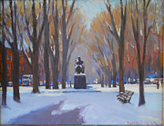 Comm Ave Paintings - Commonwealth Ave in the Snow by Dianne Panarelli Miller