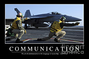 Naval Aircraft Posters - Communication Inspirational Quote Poster by Stocktrek Images