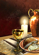Catholic Paintings - Communion Bread and wine by Gina Femrite