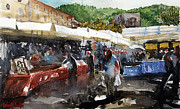 Marketplace Painting Framed Prints - Como the marketplace Framed Print by Marisa Gabetta