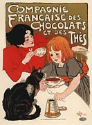 Paris Cafe Prints - Compangnie Francaise des Chocolats et des Thes Print by Sanely Great