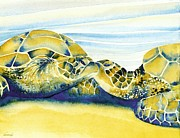 Hawaii Sea Turtle Paintings - Companions by Frances Ku