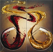 Women Tasting Wine Art - Comparing Pinot Wine Art Painting by Leanne Laine