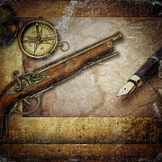 Old Paper Framed Prints - Compass and guns Framed Print by Erik Brede