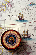 Antique Map Photos - Compass and old map with ships by Garry Gay