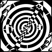 Needle Drawings Prints - Compass Needle Maze  Print by Yonatan Frimer Maze Artist