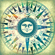 Smiling Mixed Media Posters - Compass Sun Mixed Media Poster by Brandi Fitzgerald