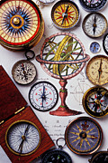 Icons Prints - Compasses and globe illustration Print by Garry Gay