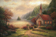 Kinkade Paintings - Compassion Chapel by Chuck Pinson