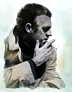 Nj Drawings - Compelling Cool  Steve McQueen by Iconic Images Art Gallery David Pucciarelli
