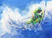 Skiing Action Painting Framed Prints - Competitive Edge Framed Print by Hanne Lore Koehler