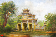 Historic Statue Painting Framed Prints - Complex of Hue Monuments Framed Print by Catf