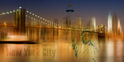 Brooklyn Bridge Digital Art Metal Prints - Composing NYC No.1 Metal Print by Melanie Viola