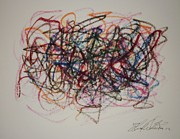 Line Pastels Originals - Composition 34 by Edward Wolverton
