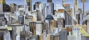 New York City Skyline Painting Framed Prints - Composition Looking East Framed Print by Catherine Abel
