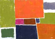 Vivid Orange Paintings - Compromisso by Douglas Simonson