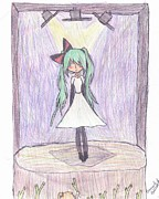 Superstar Drawings Posters - Concert Miku Poster by Emma Gallant