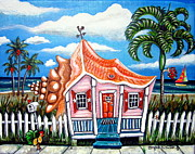 Key West Paintings - Conch Cottage by Abigail White