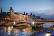 Landscapes Photo Acrylic Prints - Conciergerie and Pont Napoleon at Twilight Acrylic Print by Jennifer Lyon