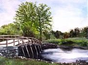 Massachusetts Pastels Posters - Concord Bridge Poster by Cindy Plutnicki