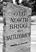 Concord Prints - Concord MA Old North Bridge Marker Black and White Print by Staci Bigelow