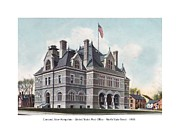 Concord Digital Art Framed Prints - Concord New Hampshire - United States Post Office - North State Street - 1905 Framed Print by John Madison