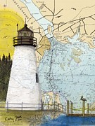 Concord Painting Prints - Concord Pt Lighthouse MD Nautical Chart Map Art Cathy Peek Print by Cathy Peek