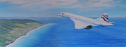 Elaine Jones Metal Prints - Concorde Over Barbados Metal Print by Elaine Jones