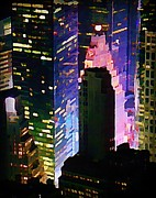 Halifax Artists Framed Prints - Concrete Canyons of Manhattan at Night  Framed Print by John Malone
