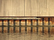 Riverwalk Prints - Concrete Wall and Water 1 Print by Anita Burgermeister