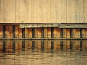 Riverwalk Prints - Concrete Wall and Water 2 Print by Anita Burgermeister