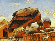 Feeds Painting Prints - Condor bird and man Print by Georgi Dimitrov