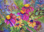 Blenda Tyvoll Paintings - Coneflowers and Co  by Blenda Studio
