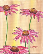 Quad Painting Posters - Coneflowers Four Poster by Cheryl Sameit