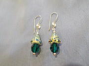 Featured Jewelry - Cones hand crafted glass crystal earrings by Jan Durand