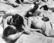 Coney Island Prints - Coney Island - Beach Sunbathers Print by MMG Archives