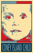 Stencil Portrait Framed Prints - CONEY ISLAND CHILD in HOPE Framed Print by Rob Hans
