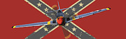 Confederate Flag Framed Prints - Confederate P51 Framed Print by Adrian Hardcastle