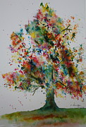 Splashy Metal Prints - Confetti Tree Metal Print by Patsy Sharpe