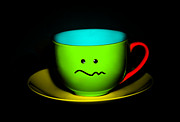 Natalie Kinnear Posters - Confused Colorful Cup and Saucer Poster by Natalie Kinnear