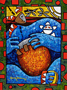 Taino Metal Prints - Conga on Fire Metal Print by Oscar Ortiz
