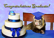 Ferret Digital Art - Congratulations Graduate Ferret by Jeanette K