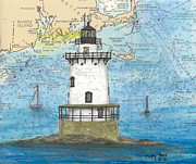 New England Lighthouse Paintings - Conimicut Lighthouse RI Nautical Chart Map Art by Cathy Peek