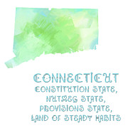 Abstract Map Mixed Media Posters - Connecticut - Constitution State - Nutmeg State - Provisions State - Map - State Phrase - Geology Poster by Andee Photography