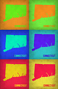 Connecticut Prints - Connecticut Pop Art Map 1 Print by Irina  March