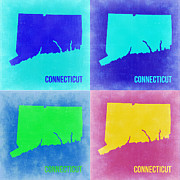 Connecticut Prints - Connecticut Pop Art Map 2 Print by Irina  March